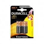 Baterijos DURACELL AAA, LR03, 4+2vnt