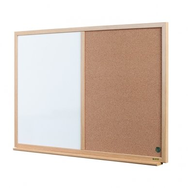Baltoji magnetinė ir kamštinė lenta BI-OFFICE EARTH Combo 90x60, ąžuolo rėmas 2