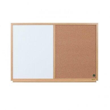 Baltoji magnetinė ir kamštinė lenta BI-OFFICE EARTH Combo 90x60, ąžuolo rėmas 3