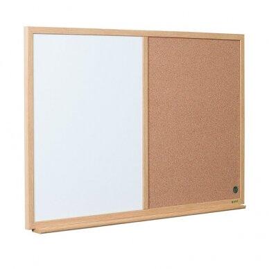 Baltoji magnetinė ir kamštinė lenta BI-OFFICE EARTH Combo 90x60, ąžuolo rėmas