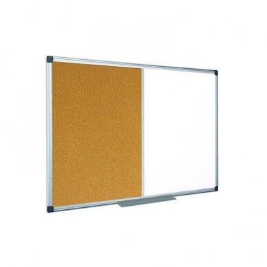 Baltoji magnetinė ir kamštinė lenta BI-OFFICE MAYA Combo 90x60, aliuminio rėmas