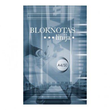 Bloknotas OFFICE, linijomis, klijuotas, A4, 50 lapų