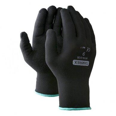 Darbo pirštinės TAMREX 3135, poliamidinis pluoštas su vinilo taškeliais, pora, dydis 9, juoda