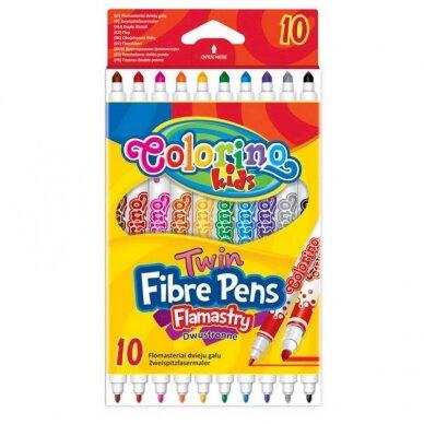 Dvipusiai flomasteriai COLORINO, 10 spalvų