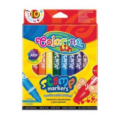 Dvipusiai flomasteriai su antspaudukais COLORINO, 10 spalvų