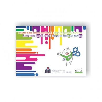 Dvipusis spalvotas kartonas SMLT, A3, 190 g/m2, 16 lapų (8 spalvų)