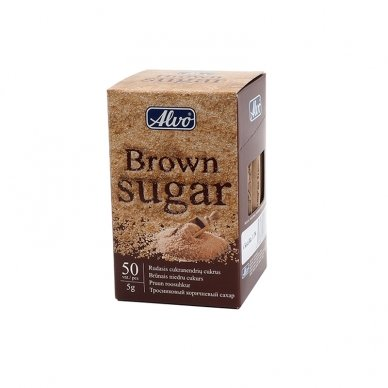Fasuotas cukrus ALVO, rudas, 50 vnt po 5 g