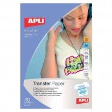 Foto popierius APLI T-SHIRT TRANSFER, A4, 10 lapų