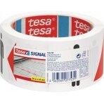 Įspėjamoji lipni juosta TESA SIGNAL Social Distancing, 50mm x 50m, balta/raudona