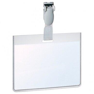 Kabinama vardinė kortelė su plastmasiniu spaustuku DURABLE, 60 x 90 mm,  (pak. -25 vnt.)