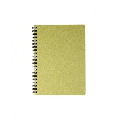 Kalendorius - užrašinė TIMER, su spirale, A5, be datų, 224 lapai, langeliais, kartoniniu viršeliu, šviesiai žalia sp.