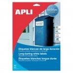Lipnios etiketės APLI, 105 x 148 mm, A4, atsparūs, 4 lipdukai lape, 20 lapų, balta
