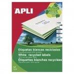 Lipnios etiketės APLI, 105 x 148 mm, A4, perdirbti, 4 lipdukai lape, 100 lapų, balta