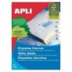 Lipnios etiketės APLI, 105 x 70 mm, A4, 8 lipdukai lape, 100 lapų, balta