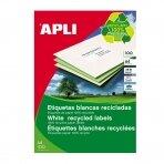 Lipnios etiketės APLI, 210 x 297 mm, A4, perdirbti, 1 lipdukai lape, 100 lapų, balta
