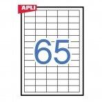 Lipnios etiketės APLI, 38 x 21,2 mm, A4, 65 lipdukai lape, 100 lapų, balta
