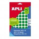 Lipnios etiketės APLI, apvalūs, diam., 10 mm, 8 l., žalia