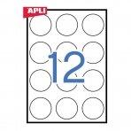 Lipnios etiketės APLI, diam. 60 mm,d A4, 12 lipdukai lape, 100 lapų, balta