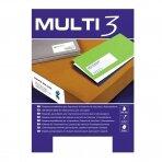Lipnios etiketės MULTI-3, 52,5 x 21,2 mm, A4, 100 lapų, balta