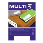 Lipnios etiketės MULTI-3, 64,6 x 33,8 mm, A4, 100 lapų, balta
