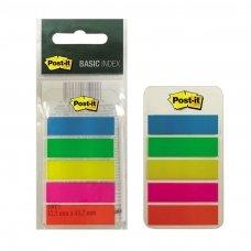 Lipnūs žymekliai POST-IT Basic 12 x 43 mm, plastikiniai, 100 lapelių, 5 spalvos
