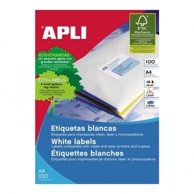 Lipnios etiketės APLI, 70 x 37 mm, A4, 24 lipdukai lape, 25 lapai, balta 2