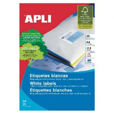 Lipnios etiketės APLI, 70 x 37 mm, A4, 24 lipdukai lape, 25 lapai, balta