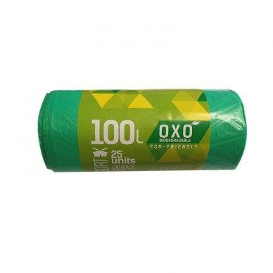 Maišai šiukšlėms BIO, žali HDPE 100L 70x100cm 18 mkr 25vnt/rul.