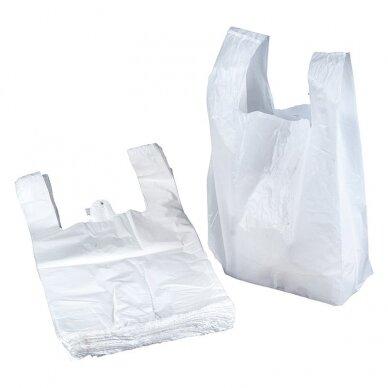 Maišeliai su rankenomis, 30 x 18 x 55 cm, 25 mic, 100 vnt./pak., balta sp.