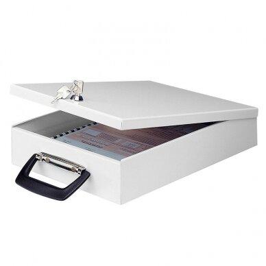 Metalinė dėžutė dokumentams WEDO, 35,5 x 26 x 6,7 cm, su užraktu