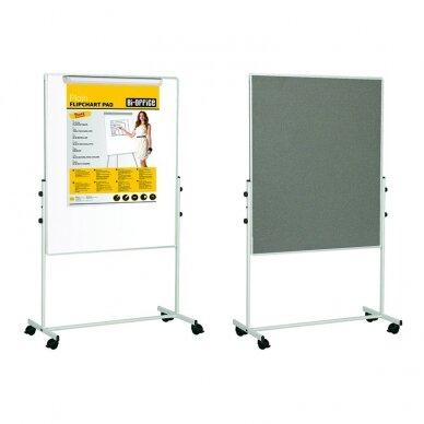 Mobilioji dvipusė lenta BI-OFFICE 100x100, baltoji magnetinė ir pilko veltinio, aliuminio rėmas