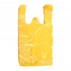 Plastikiniai maišeliai HDPE 25 x 12 x 45 cm, 12 mic, geltona sp., 100 vnt./pak.
