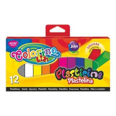 Plastilinas Colorino Kids, kvadratinės formos, 12 spalvų
