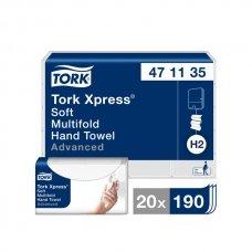 Popieriniai rankšluočiai TORK Xpress Multifold, 2 sl., 190 servetėlių, 23.4 x 21.3 cm, balta sp. 471135