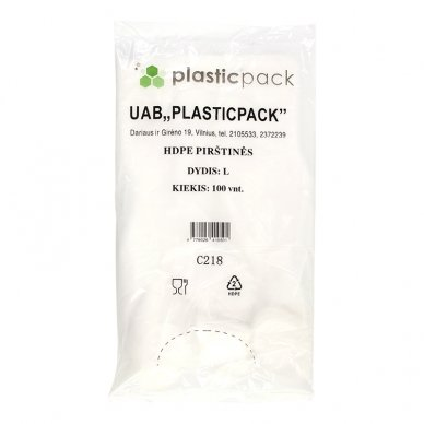 Polietileno pirštinės PLASTICPACK, HDPE, L dydis, 100 vnt.