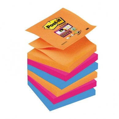 POST-IT® SUPERSTICKY Z-NOTES ElectricGlow super lipnūs lapeliai, 76 x 76 mm, įvairios spalvos, 6 vnt.pak.