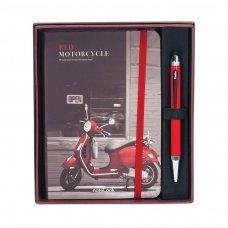 Rašiklių komplektas su A6 formato bloknotu, linijomis SCRIKSS RED MOTOCYCLE, dovanų dėžutėje