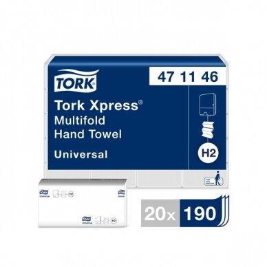 Rankšluostis TORK XPRESS Multifold 471146, 2 sl., 23,4 x 21,3 cm, balta sp. su lapų raštais