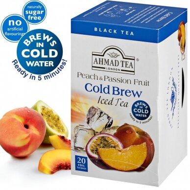 Šaltoji juodoji arbata AHMAD Peach & Passion Fruit, 20 folijos pakelių