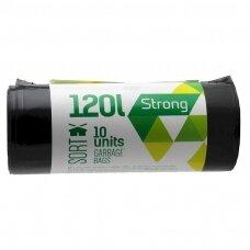 Šiukšlių maišai SORTEX, 120 l, 35 mikr, LDPE, 70 x 100 cm, 10 vnt., juodos sp.