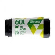 Šiukšlių maišai SORTEX, 60 L, 10 vnt., 30 mkr, LDPE, 60 x 75 cm, juodos sp.