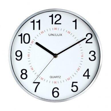 Sieninis laikrodis UNILUX ARIA, diametras 28.5cm, metalo pilka sp.