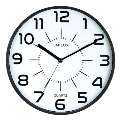 Sieninis laikrodis UNILUX POP, diametras 28cm, juoda sp.