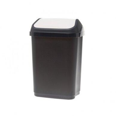 Šiukšliadėžė su svyruojančiu dangčiu, 10 L, juoda/balta sp.