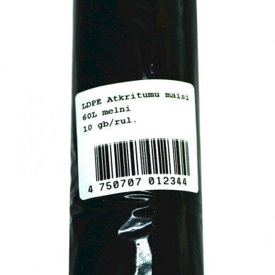 Šiukšlių maišai, 60 L, 30 mik., LDPE, 64 x 84 cm, juoda sp., 10 vnt./rit. 2