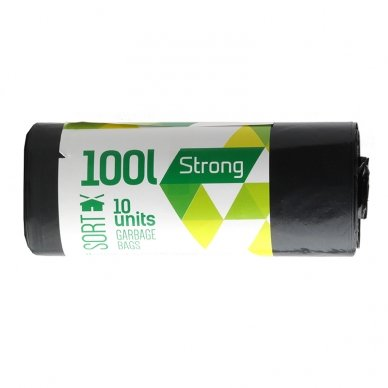 Šiukšlių maišai SORTEX, 100 l, 35 mikr, LDPE, 70 x 90 cm, 10 vnt., juodos sp.