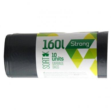 Šiukšlių maišai SORTEX, 160 l, 50 mikr, LDPE, 75 x 115 cm, 10 vnt., juodos sp.