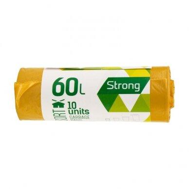 Šiukšlių maišai SORTEX, 60L, 30 mik., 10 vnt. ritinyje , LDPE, 60 x 75 cm, geltona sp.