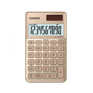 Skaičiuotuvas CASIO SL-1000SC, 120x71x9 mm, aukso sp.