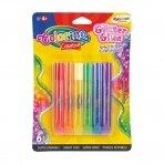 Spalvoti klijai ryškių spalvų su blizgučiu COLORINO, 6 spalvos